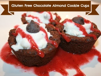 gluten free chocolate almond cookie cups with Chobanu filling