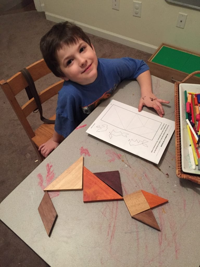 using tangrams with round table geometry from rainbowresource.com
