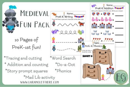 Medieval Fun Pack Freebie for Pre-K-1st Graders