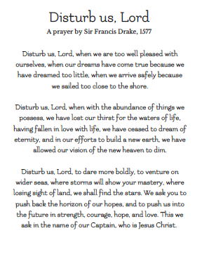 disturb us Lord prayer sir francis drake