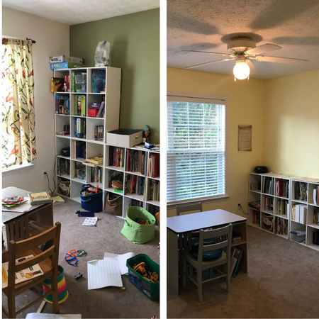 How to create a homeschool room for active learners. Distraction free learning for ADHD, dyslexia, and sensory processing disorder.