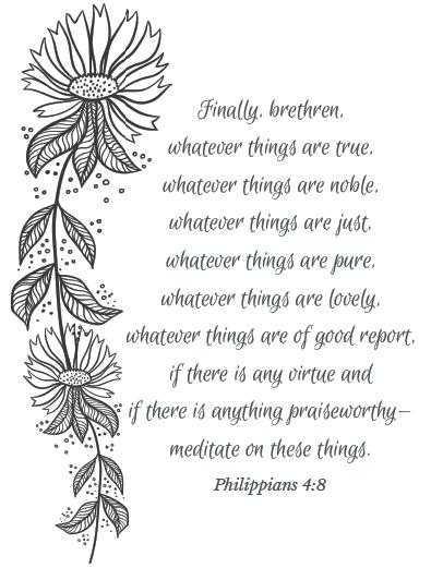 Philippians 4:8 coloring page
