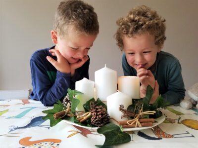 children making Advent wreath